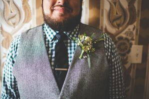 Wildflower Boutonniere Pinned on Gray Vest