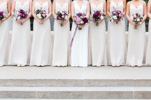 Champagne Bridesmaid Dresses and Black Groomsmen Tuxedos
