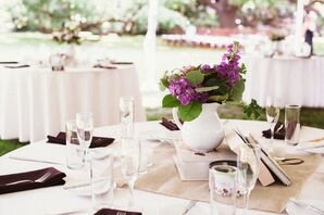 Vintage Book and Purple Wildflower Centerpieces