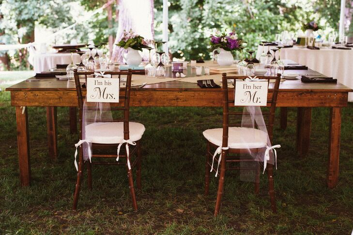 The couple wanted to echo their venues beautiful landscaping with purple flowers at each place setting.