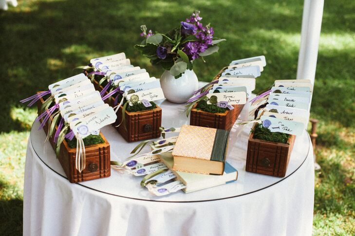 The couple created their rustic bookmark escort cards to complement their vintage book theme.