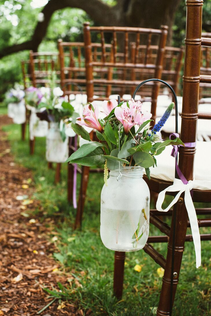 Hanging Mason Jar and Wild Flower Aisle Markers