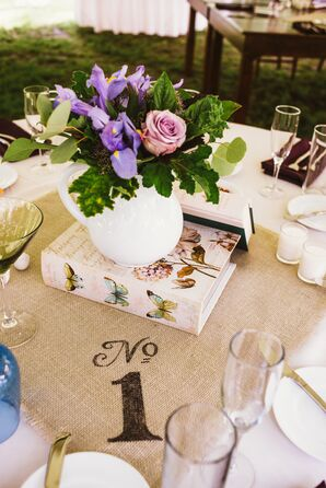 DIY Stenciled Burlap Table Numbers