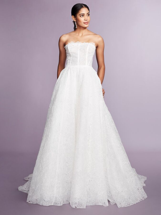 Marchesa Notte strapless lace wedding dress