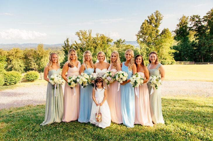 The bridesmaids picked their own Bill Levkoff dresses in the pastel shade and style they preferred.