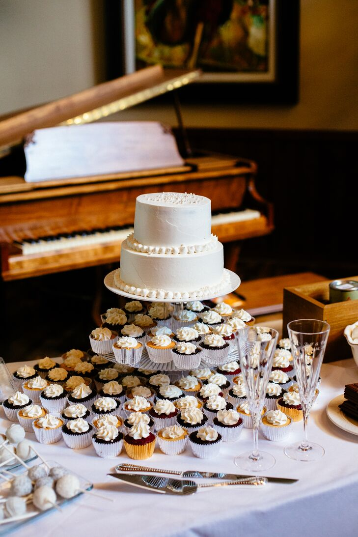 Two-Tiered Buttercream Cake with Mixed Cupcakes