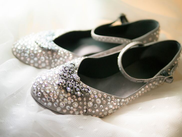 """I always wanted ""glass slippers"" for my wedding day, so I glued on over 1,000 Swarovski crystals onto my shoes by hand. When the light hit them, they sparkled like crazy,"" says Angela."