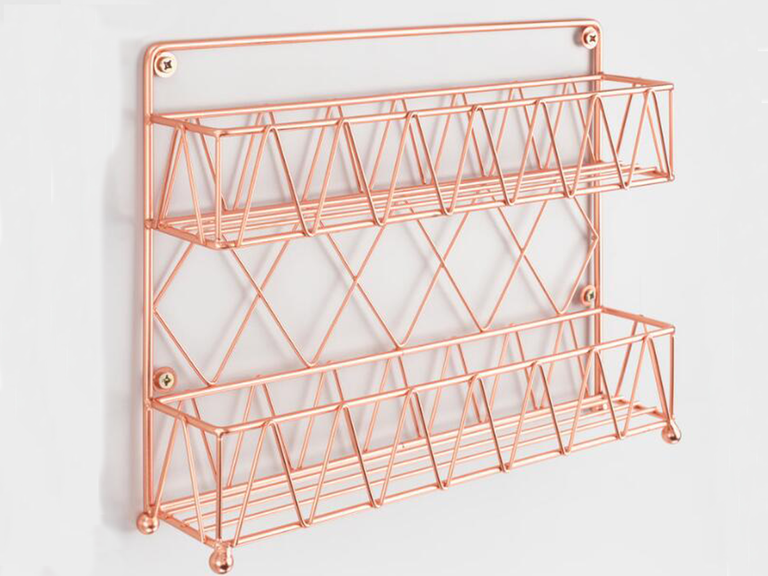 Give them the gift of an organized spice rack for their 7 year anniversary by giving them a two-tier copper one.