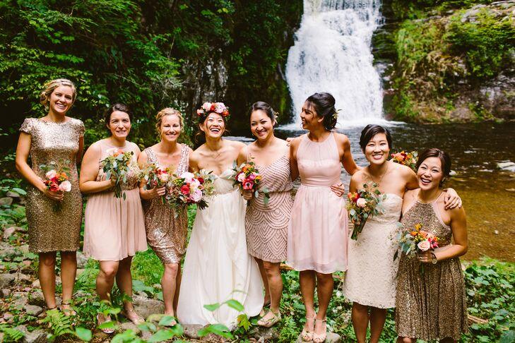 3d8d8dbcb3d6 Blush and Metallic Bridesmaid Dresses