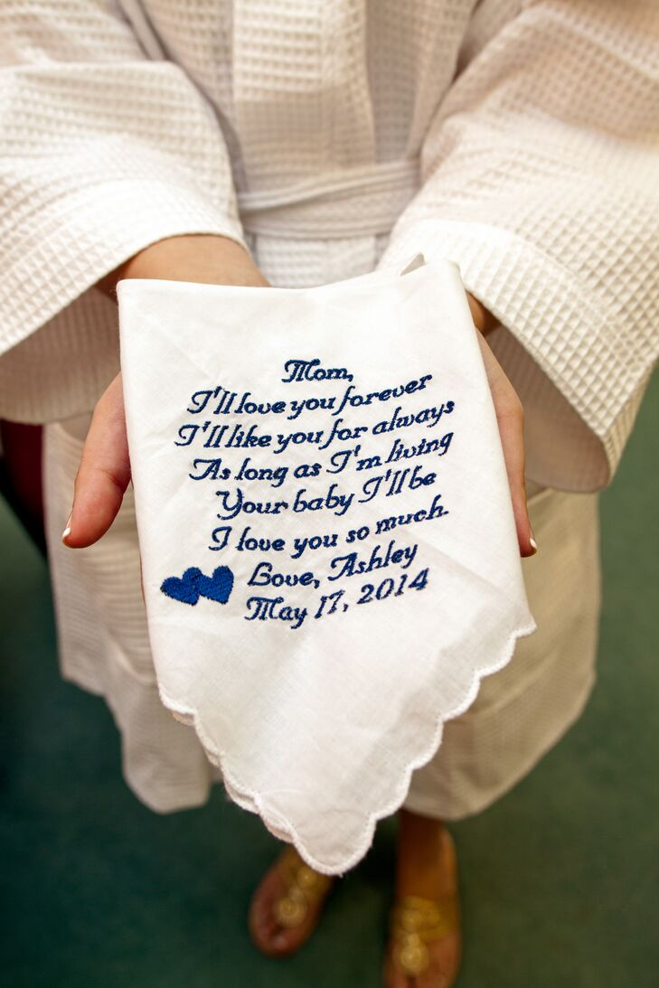 Blue Embroidered Handkerchief Gift for Mom