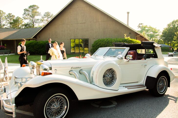 Ashley and Tanner left through a sparkler-lined exit and into a classic, white Excalibur getaway car.