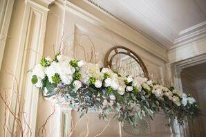 White Hydrangea Mantle Altar Decor