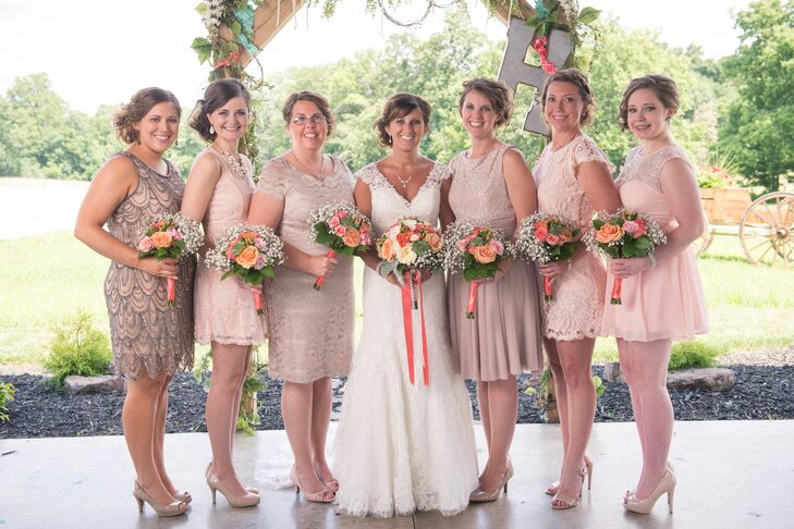 Mismatched Blush Bridesmaid Dresses
