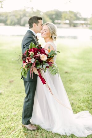 Dark Red and Pale Blush Bridal Bouquet