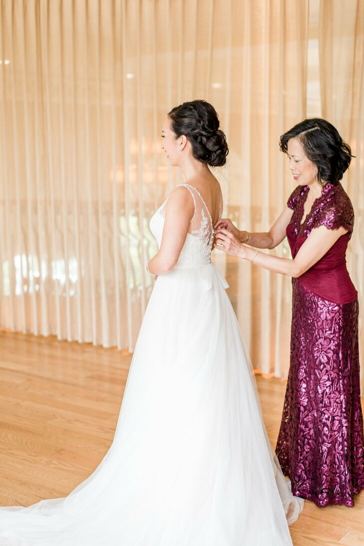 """I wanted a flowing and romantic dress, but most important I wanted to be comfortable and able to dance,"" Jasmine says of her A-line gown with a tulle skirt and embellished bodice. ""I did have a second dress, but I didn't change until the last hour because I didn't want to change out of my dress."""