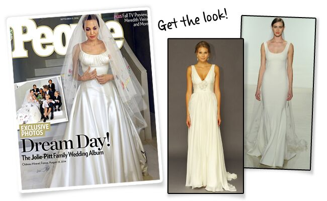 Angelina Jolie S Wedding Dress And Veil Features Pictures Drawn By