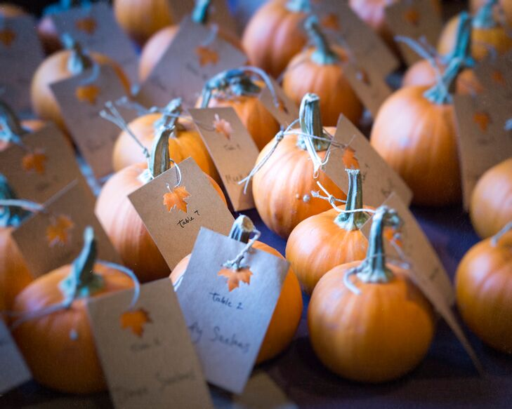 Inspired by their fall wedding, Brooklynn and Steve went to a pumpkin patch and picked over a 100 baby pumpkins for the escort cards. Brooklyn used brown card stock and punched little leaves into each one. She tied some twine through the hole and around the pumpkin's stem. At the end of the night, guests took their pumpkins home with them as a little favor.