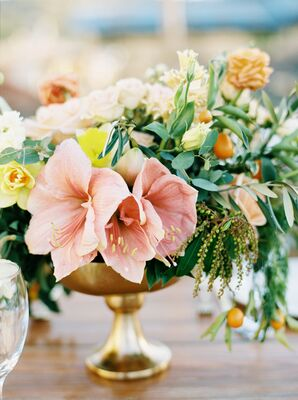 Pink Amaryllis, Kumquat and Orchid Centerpieces