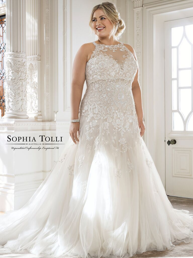 Halter Neck Plus Size Wedding Dress
