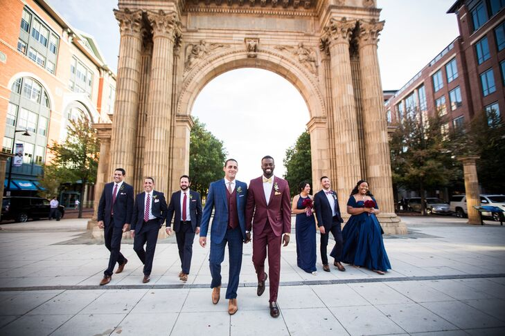 Elegant Grooms and Wedding Party Near the Arch in McFerson Commons Park