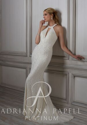 89c35f7752 Adrianna Papell Platinum Lenora Sheath Wedding Dress