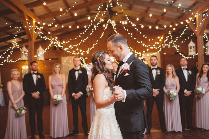"""Nikole and Rocco took their first dance to """"I Can't Help Falling in Love with You"""" by Ingrid Michaelson. It was """"the most romantic song ever, a great cover of a timeless classic,"""" says Nikole."""