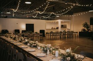 Industrial Reception with String Lights at  The Theodore in Birmingham, Alabama
