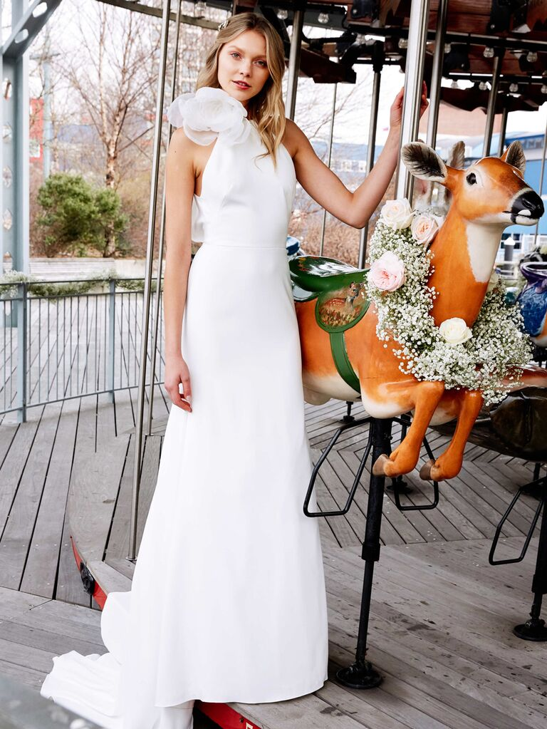 Lela Rose Spring 2020 Bridal Collection asymmetrical wedding dress with oversize floral detail