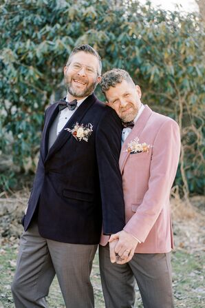 Grooms in Velvet Suits for Wedding at the Everhart Museum in Scranton, Pennsylvania