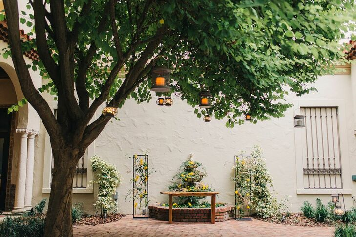 Modern Courtyard with Greenery Decorations and Hanging Lanterns