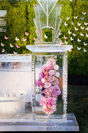 Ice Bar with Pink Flowers
