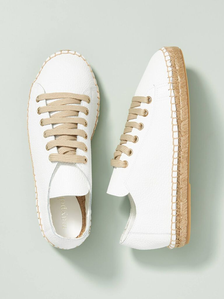 Espadrille-style white wedding sneakers