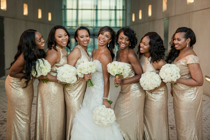 Bridal Party in Gold Sequin Dresses for Wedding at Terrace on Grand in Kansas City, Missouri