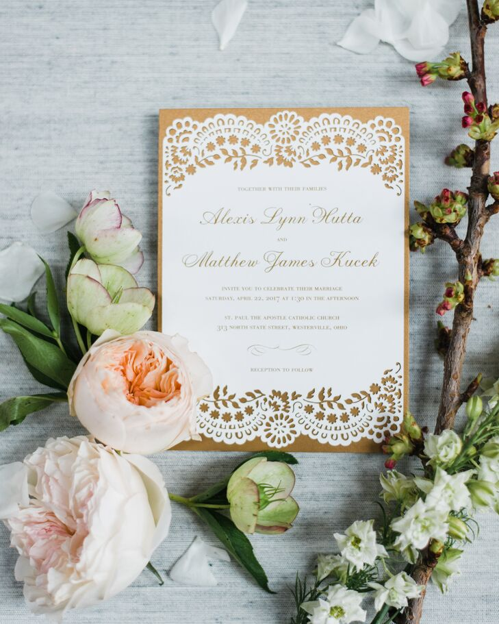 Romantic Gold Laser-Cut Wedding Invitations