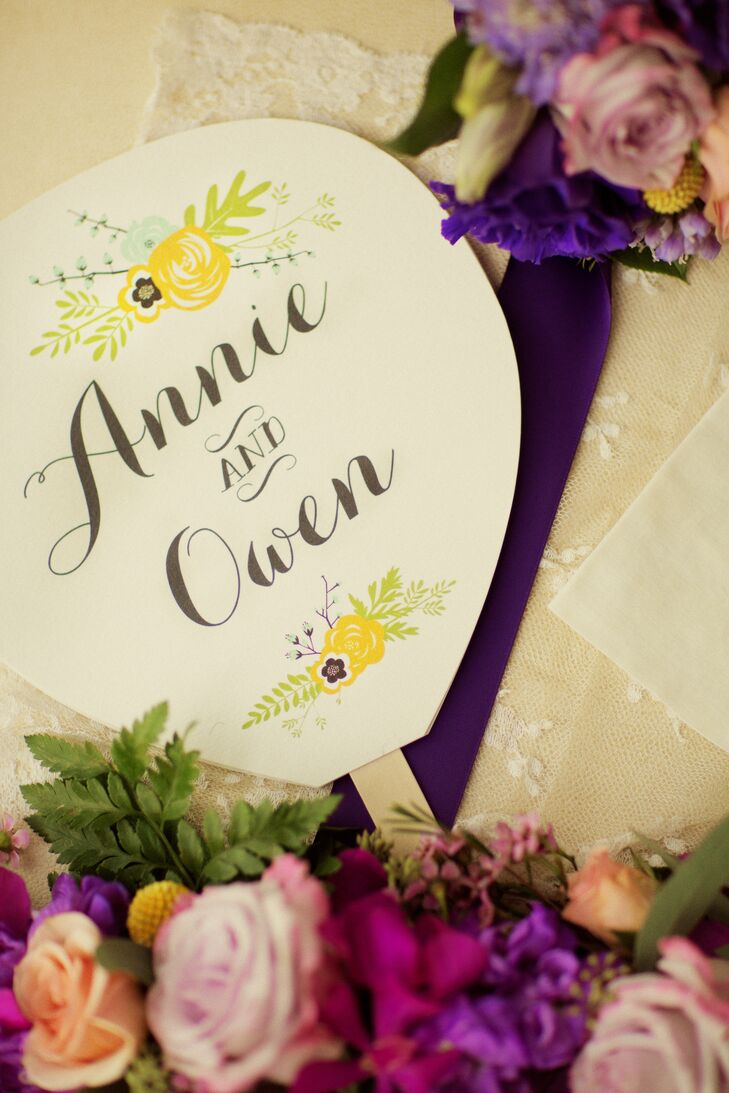 At the recommendation of their wedding planner, Annie and Owen picked out their stationery from Write On, a local shop. Every ceremony fan captured the bright florals at their wedding with lines of yellow and blue flowers that separated the couple's calligraphy names.