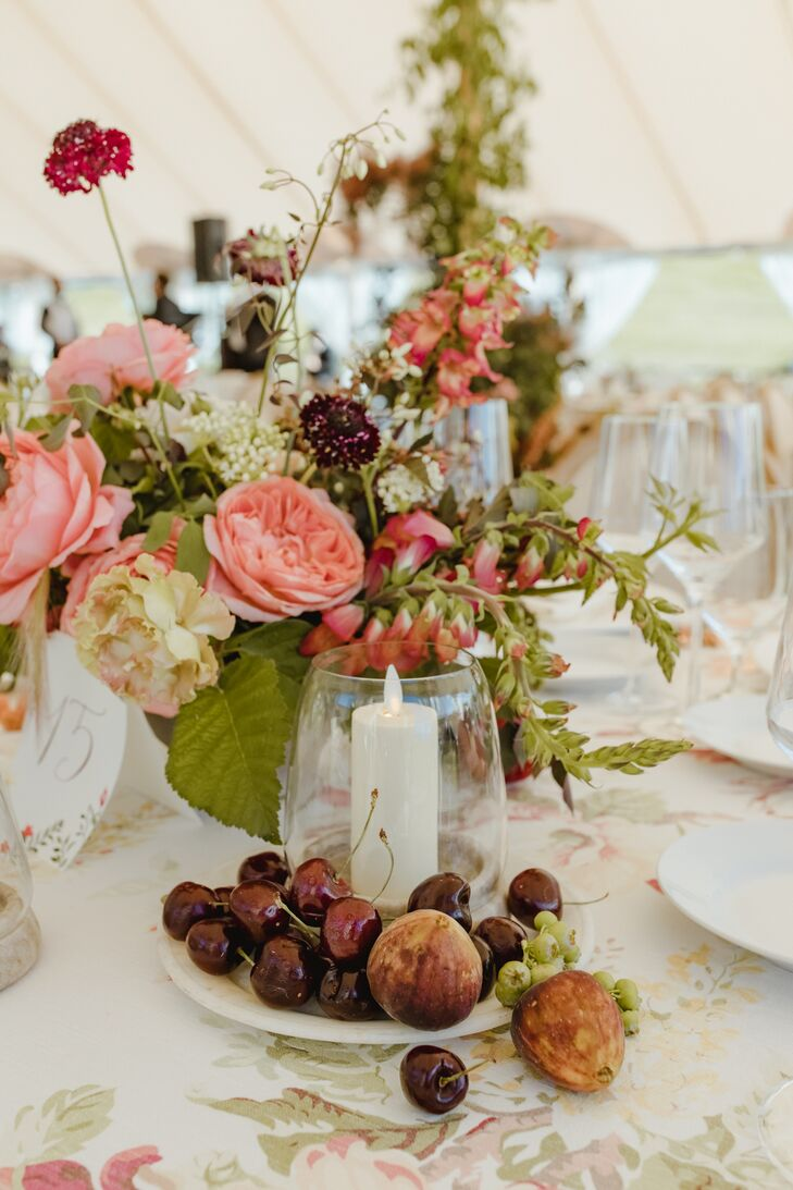Rustic Pink Centerpieces, Candles and Fruit