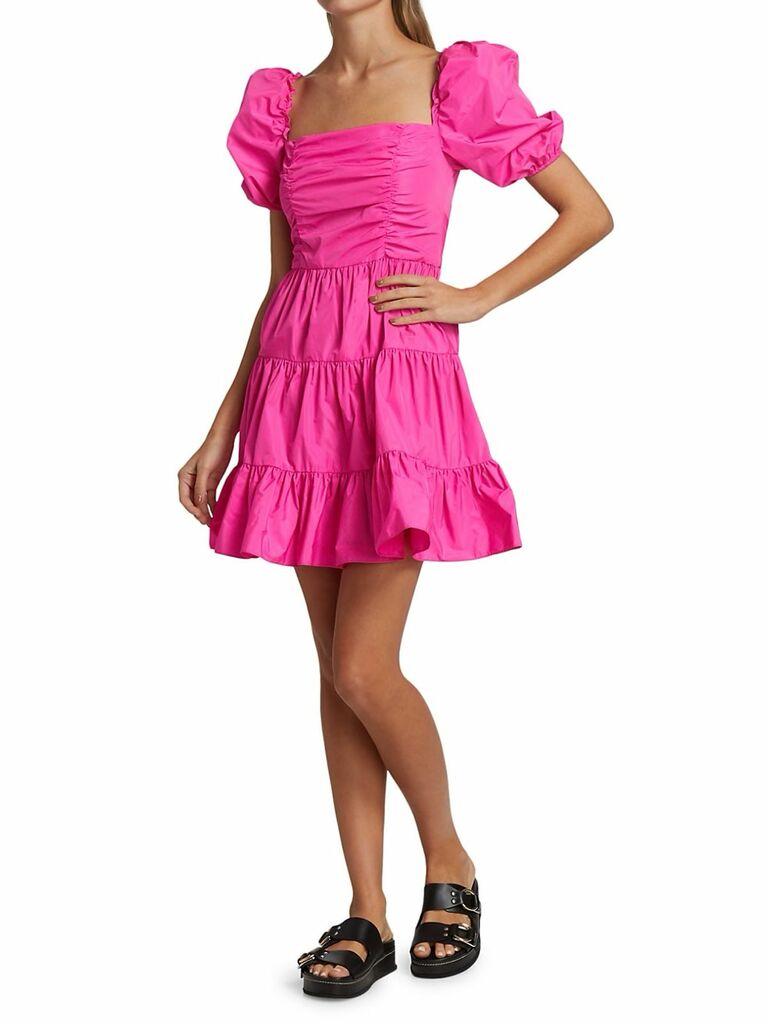 hot pink puff sleeve mini dress