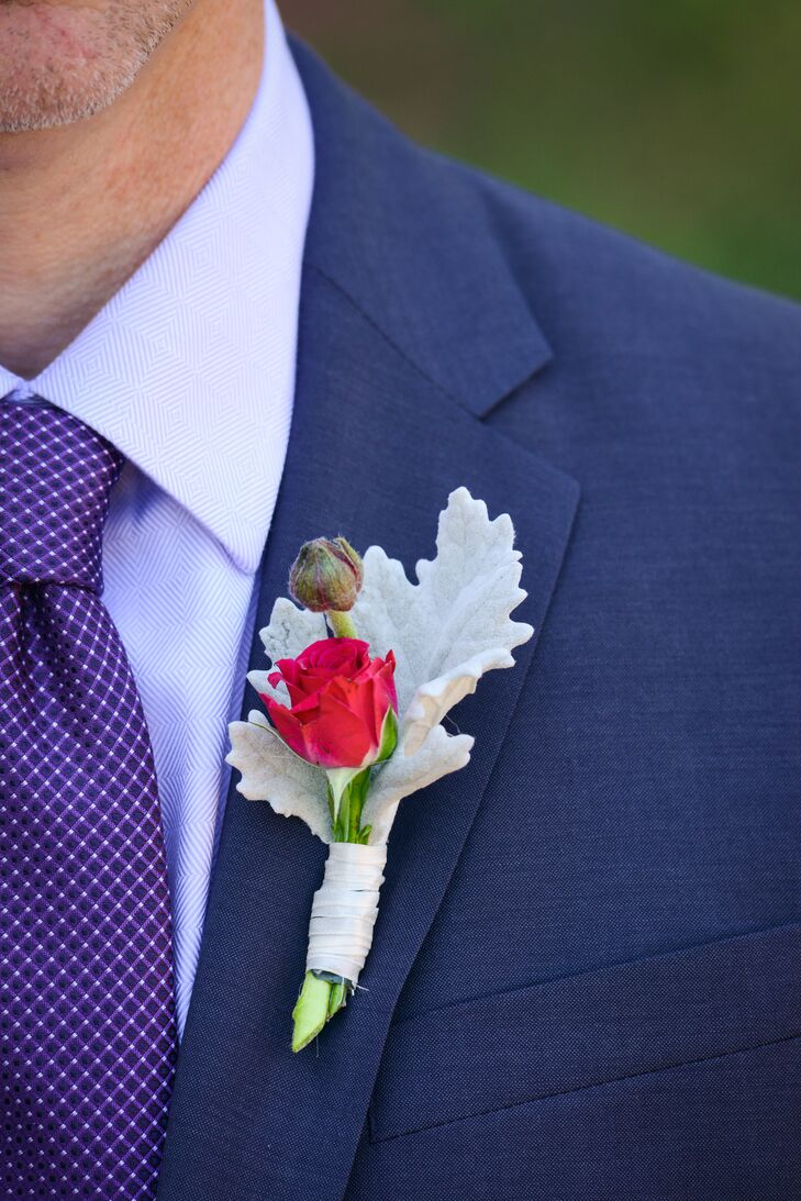 Dusty Miller and Red Rose Boutonniere