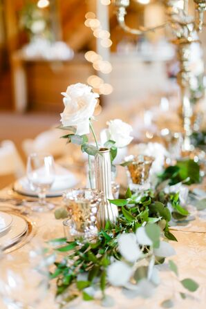 Single-Bud Rose Arrangement and a Greenery Table Runner