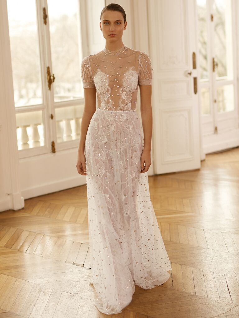 Dana Harel Spring 2020 Bridal Collection sexy embellished wedding dress with sheer illusion bodice