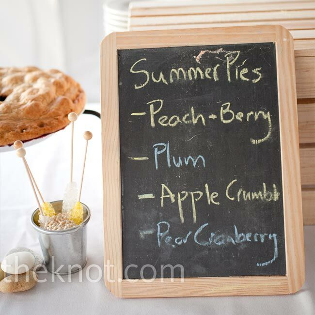 Michael loves pie, so in lieu of a wedding cake, the couple chose several different pies including raspberry rhubarb and blackberry plum from a local farm.
