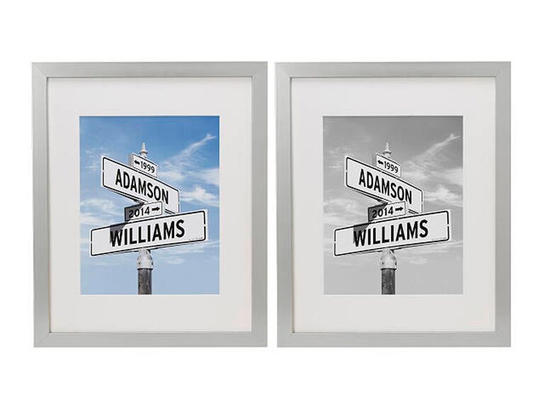 Personalized street sign 20th anniversary gifts with platinum frames