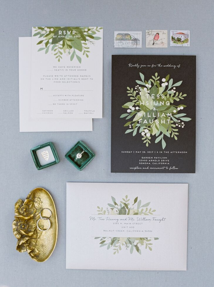 Organic, Modern Wedding Invitations with Greenery Motif