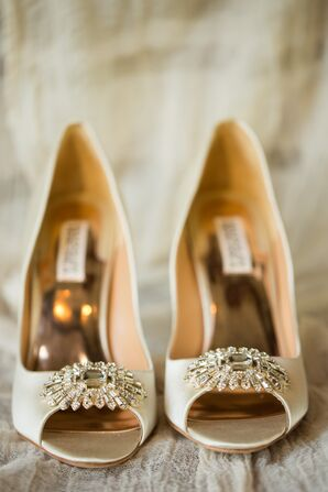 Badgley Mischka Champagne-Colored Shoes With Brooches
