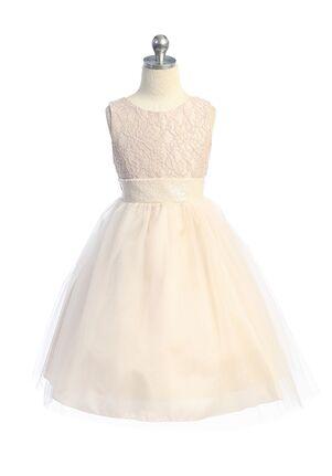 Kid's Dream Lace Sequin Back V Dress Flower Girl Dress