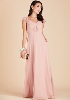 Birdy Grey Kae Bridesmaid Dress in Rose Quartz V-Neck Bridesmaid Dress
