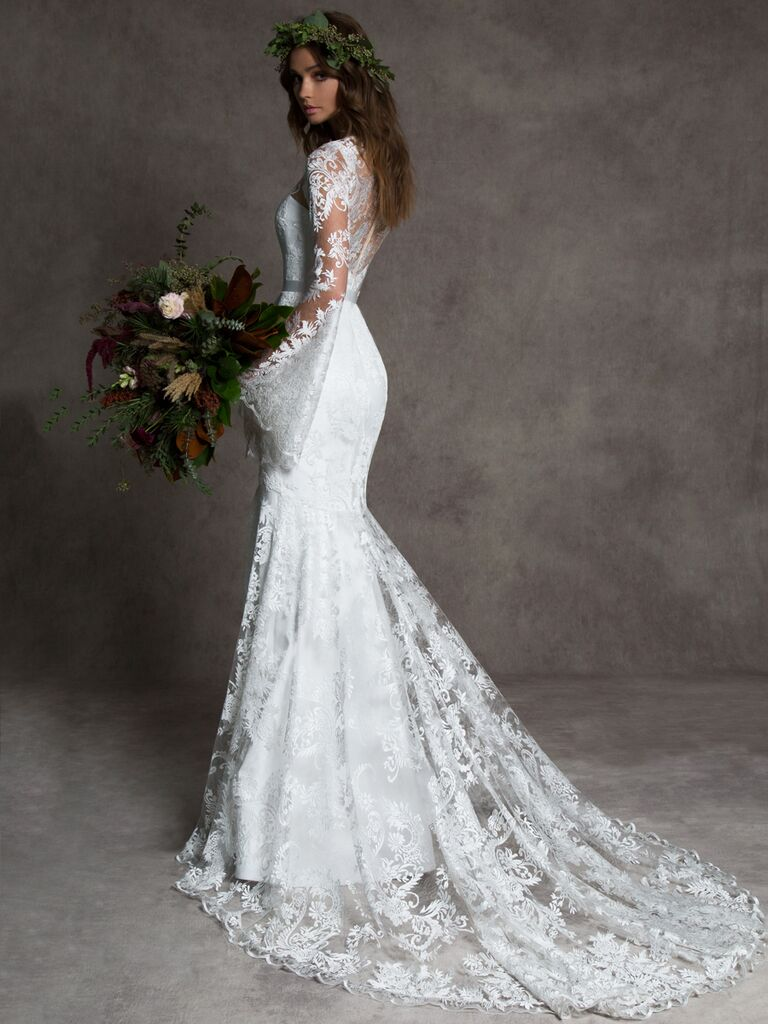 Romona New York Fall 2019 wedding dress with lace bell sleeves and a lace train