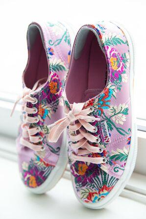 Purple Flower Sneakers for Bride