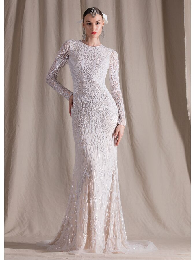 Naeem Khan beaded long sleeve fit-and-flare wedding dress