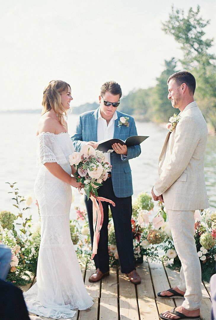 Casual, Bohemian Wedding Ceremony on the Water